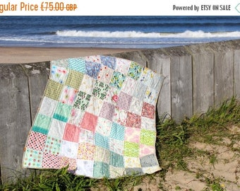 Spring Quilt Sale Patchwork Quilt, Traditional Design with Modern Fabrics. Lap quilt, Sofa Throw, Car blanket