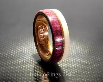 Wood rings for women Irish coin wedding ring with purple heart wood
