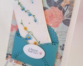 Vintage Embroidered Handkerchief Teal Pink Thank You Appreciation Keepsake Gift Hankie Card