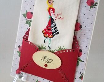 Vintage Embroidered Silk Handkerchief Scandinavian Girl Costume Birthday Keepsake Gift Thinking Of You Hankie Cards