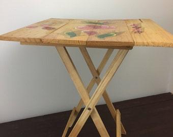 Mid Century Foldind Wooden Table Garden Patio Table