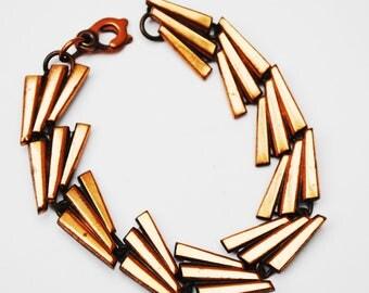 Copper  link Bracelet - Mod Vintage - mid century Modern - bangle