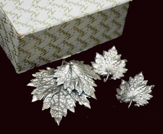 Leaf brooch and earring set - Napier Signed - Silver - clip on earrings -Mid Century