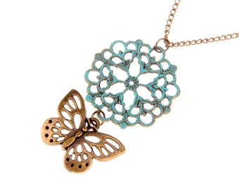 Necklace flower and butterfly