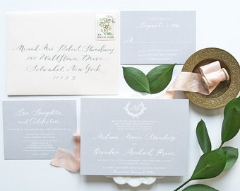 Calligraphy Wedding Invitation, Gray Wedding Invitation, Monogram, Blush, Wedding Invitation, Modern Calligraphy Wedding Invites