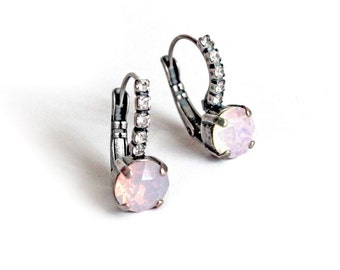 Swarovski Crystal Round Stone Leverback Dangle Earrings in Rosewater Opal and Antique Silver Finish