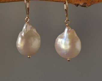Extra Large White Baroque Pearl Earrings in Gold, White Coin Shape Baroque Peals in 14K Gold, Large Pearl Earrings,Mother of the Bride