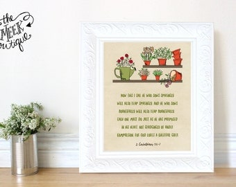 INSTANT DOWNLOAD, 2 Corinthians 9:6-7, Gardening, Scripture Art Printable, No. 720
