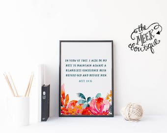 INSTANT DOWNLOAD, Scripture Art Printable, Acts 24:16, No. 743