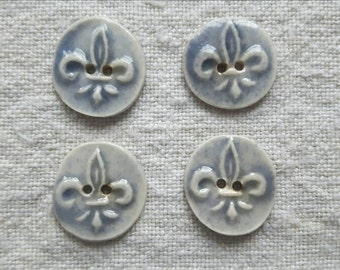 Fleur de lys - Set of 4 ceramic buttons - handmade pottery