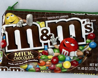 M&M's Candy Wrapper Up-cycled Zippered Bag/Pouch
