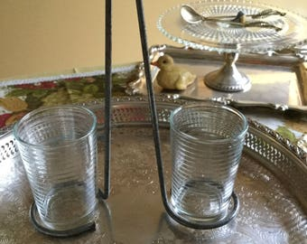 Italy/Italian Decorative Silverplate Caddy/ Holder w/Two Clear Glass Ringed Drinking/Beverage Cups