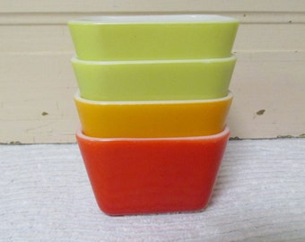 Set of Four Pyrex Colorful Refrigerator Dishes, #501 Pyrex, Red, Orange, Chartreuse