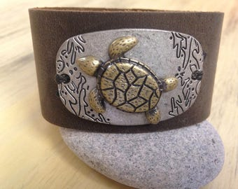 "Leather Cuff Bracelet ""Save the Sea Turtles"" Soft Brown Suede Cuff with Sea Turtle Focal piece"