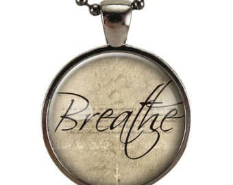 Breathe Necklace, Word Pendant, Inspirational Jewelry (1179G25MMBC)