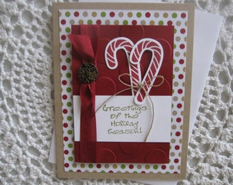 Handmade Greeting Card: Candy Cane Greetings (Christmas)