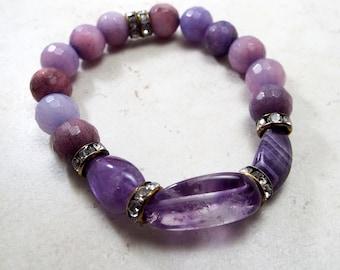 Amethyst Gemstone and Bronze Crystal Spacer Bead Boho Stretch Bracelet