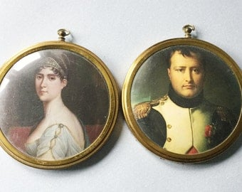 Napoleon Bonaparte print, Empress Josephine picture, Circular framed prints, Pair miniature prints, Portraits