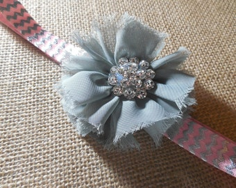 Pink  and Silver Flower Headband