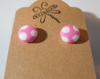 Pink and White Polka Dot Button Earrings