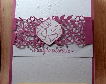 Handmade Wedding Card-Anniversary Card-Congratulations-Romantic Wedding carda day to celebrate