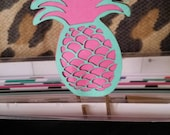 2 CARDSTOCK lasercut large paper pineapple 1 pink and aqua and 1 yellow and aqua 3""