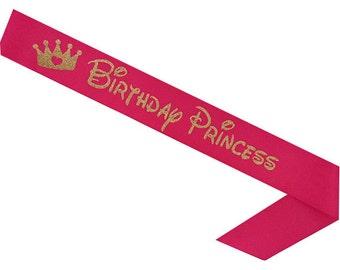 Princess- Birthday Princess - Disney Birthday Sash- Toddler Birthday- Custom Sash- Bday Sash- Birthday Girl - Princess Sash - Tiara