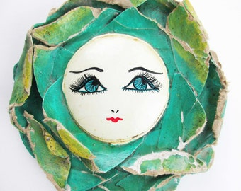 Papier Mache Flower Face - Vintage and Shabby Hand Mirror - Green Painted Wood Handle - Hand-Mirror With Face - Shabby Green Paper Petals
