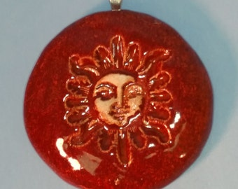 Burnt Orange SUN FACE Pendant / Necklace - Ceramic - Inspirational Art Piece