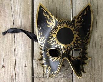Half Mystic Sun Wolf Mask, Animal mask, LARP costume, Theater Accessory, Mardi Gras,  Halloween Mask, Cosplay, Fantasy mask