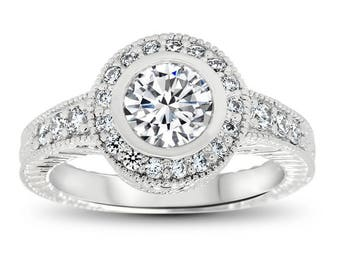 Bezel Set Diamond Engagement Ring Forever One Moissanite Center - Kris Carved
