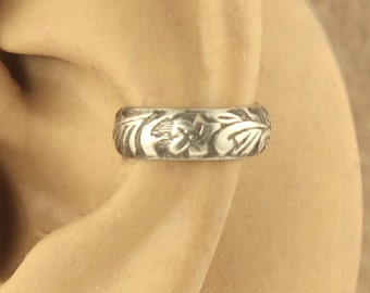 Sterling Silver Ear Band - Cartilage Earring - Non Pierced Ear Cuff - Cartilage Cuff - Gift Under 10 - Floral Design