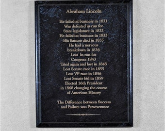 Abraham Lincoln on Sccess and Failure Marble Plaque Gift for Dad President Frame 7x9