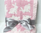 Muslin Swaddle Blanket, Personalized Gauze Blanket, Muslin Blanket, Muslin Swaddle, Baby Keepsake Blanket, Birth Announcement Blanket, Bunny