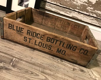 Vintage Rare 1960's Blue Ridge Bottling Inc St Louis Wood Soda Crate