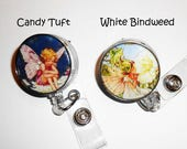 Custom Order for 4WeeScotties, Candy Tuft and White Bindweed Flower Fairy Id Badge Reels