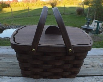 Wood Sewing Basket lid handles and liner Walnut wood