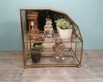 Hanging Brass & Glass Curio Box