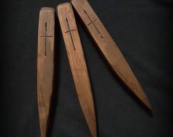 Handmade Wooden Vampire Stakes - Set of 3