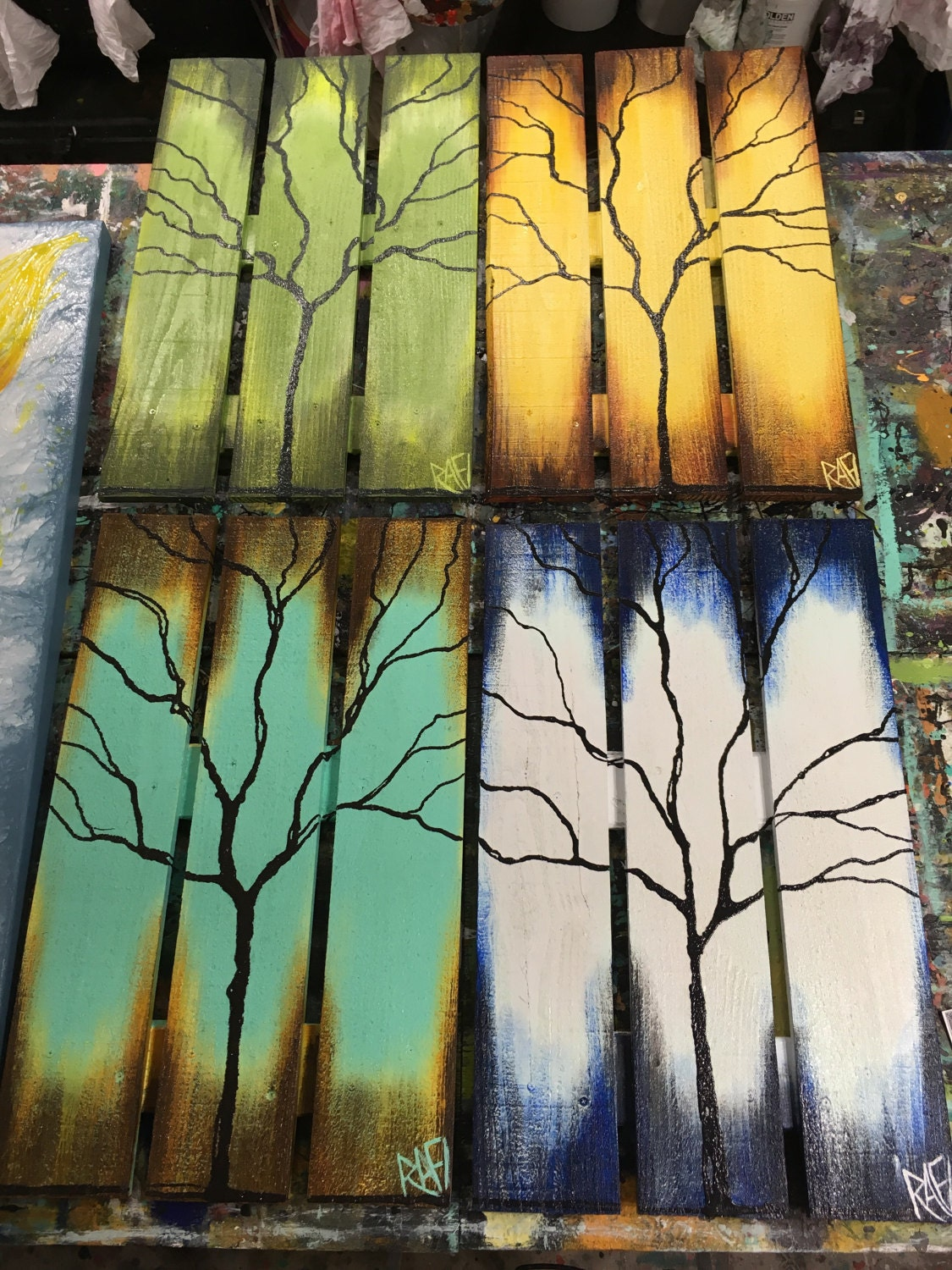 Upcycled Wall Art Reclaimed Wood Wall Art Seasons Of Change Abstract Tree Paintings