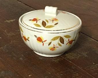 Halls Superior, Sugar Bowl, Jewel Tea Dish, Autumn Leaf Pattern, Hall China, Oven Proof Dish, Baking Casserole Dish, Vintage Baking,