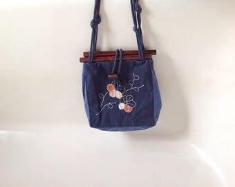 Spring Cherry Blossom Purse, Vintage Handmade Bag, Indigo Blue Fabric with Handstitched Flower Design, Wooden Top Bar Frame