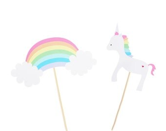 Pastel Rainbow / Unicorn Center Piece Picks - Rainbow Birthday Party - Unicorn Birthday Party - Rainbow Party Decor