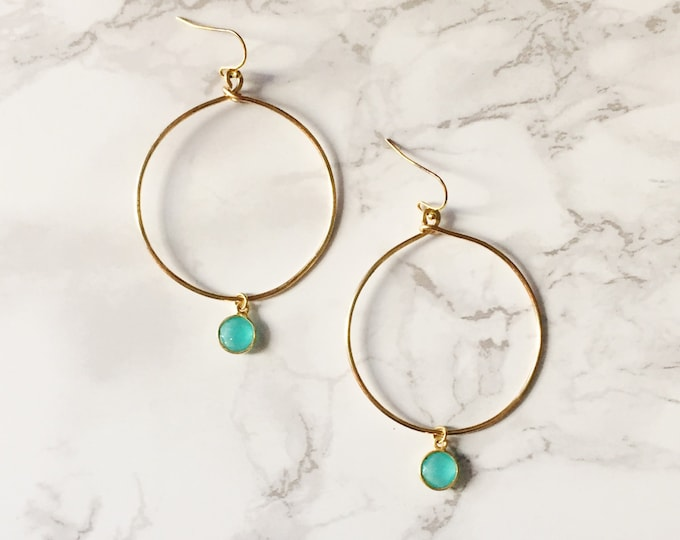 Gold Hoop Earrings - Mint Drop