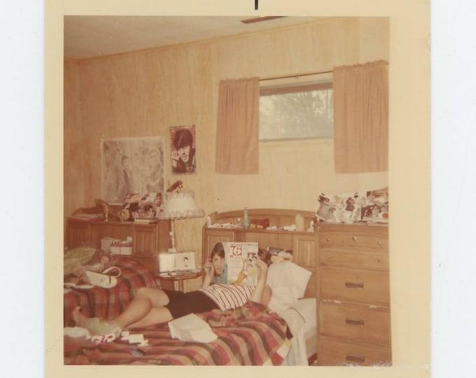 Vintage Snapshot Photo: Teenager in Bedroom, 1960s (71541)