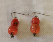 Lovely Natural Red Coral Dangle Earrings