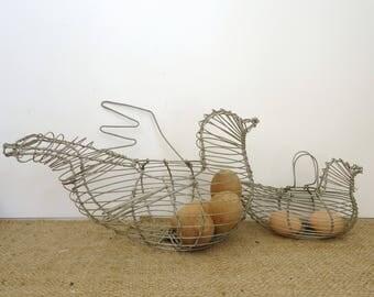 Chicken baskets, egg basket, set of 2 vintage wire basket, farmhouse kitchen decor, hen and chick