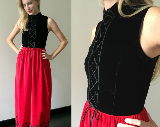 Vintage Red Black Lace Up Velvet Maxi