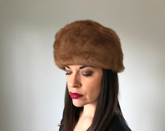 Vintage Mink Fur Pillbox Hat