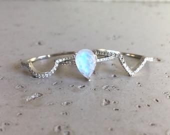 Moonstone Engagement Ring- Rose Gold Moonstone Engagement Ring- Pear Shape Moonstone Engagement Ring- Moonstone Engagement Ring Set